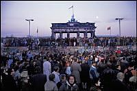 Berliners from East and West celebrating the openi