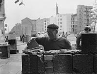 Construction of the Berlin Wall at the corner of L