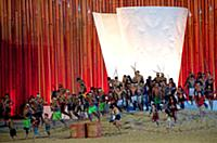 The Gaviao people perform a 'happiness' show at th