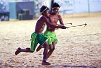 The Canela people demonstrate their relay race dur
