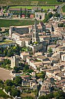 St-Emilion and vineyard of Chateau Les Grandes Mur