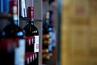 Wine display in The Maison du Vin of Saint-Emilion