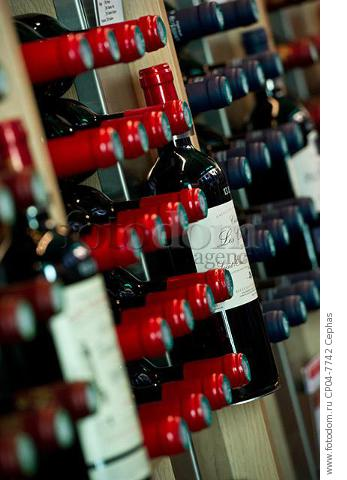 Bottles on display in the Maison du Vin of Saint-Emilion  Gironde  France.  [St-Emilion / Bordeaux]