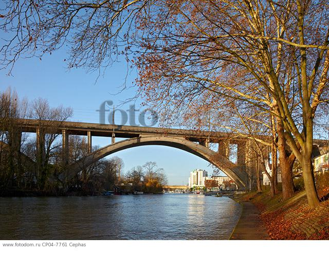 Railway viaduct over the River Marne at Nogent-sur-Marne  east of Paris  France.