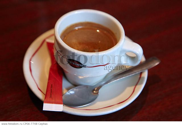 Cup of espresso coffee on a cafe table  Paris  France.