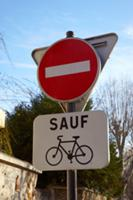 Road sign indicating 'No Entry except for Cyclists