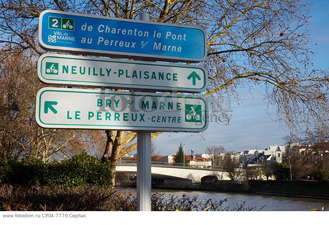 Signs for cycle routes by the River Marne.  Le Perreux-sur-Marne  Val-de-Marne  France.