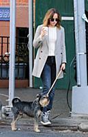 Actress Dakota Johnson walks her dog Zeppelin in t