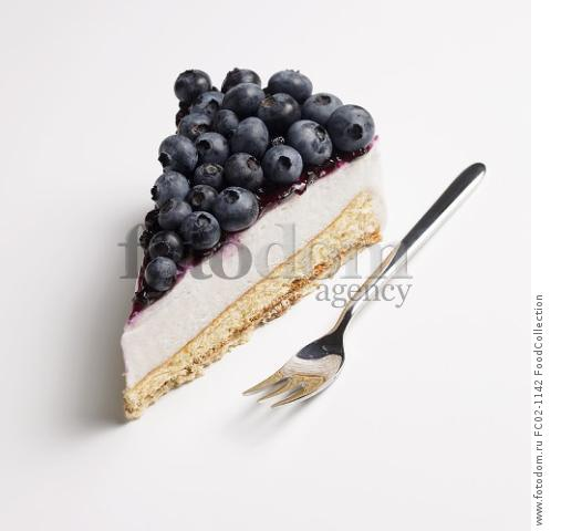 A piece of blueberry cream cake