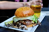 Mushroom burger and beer