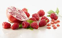 Raspberry, Rubus idaeus cultivar and Pomegranate,
