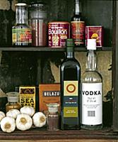 Old store cupboard with selection of food products