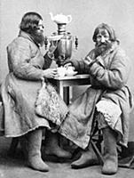Russian tea from the samovar carte-de-visite phot