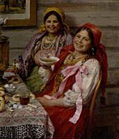 The Guests, 1926. Artist: Sychkov, Fedot Vasilyevi