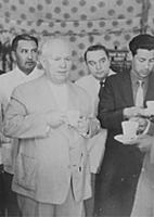 SOVIET MINISTER NIKITA KHRUSHCHEV  DRINKS A CUP OF