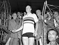 Reg Harris after winning world sprint championship