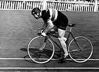 Reg Harris of Great Britain breaks standing start