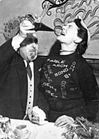 Olga Noble-Matthews drinks from a Spanish porron a