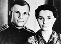 Yuri Gagarin and his wife Valentin Gagarin.