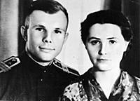 Yuri Gagarin and his wife Valentin Gagarin.  Sup