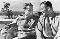 Yuri Gagarin, and Gherman Titov talk over experien