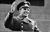 Yuri Gagarin at Moscow's Vnukovo airport after Gag