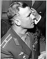 Yuri Gagarin attending a garden party at the premi