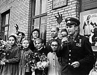 Yuri Gagarin with pupils of a Chkalov Secondary Sc