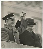 The cosmonaut Yuri Gagarin and Nikita Khrushchev o