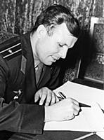 Yuri Gagarin writes a letter.