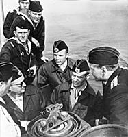 Yuri Gagarin and Gherman Titov visiting a submarin