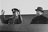 Yuri Gagarin, Nikita Khrushchev in the Red Square.