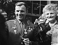 Yuri Gagarin attending a garden party at the premi