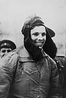 Yuri Gagarin after landing near the Russian city o
