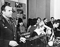 Yuri Gagarin gives a speech.