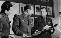 Pavel Popovich, Gherman Titov and Yuri Gagarin. 1