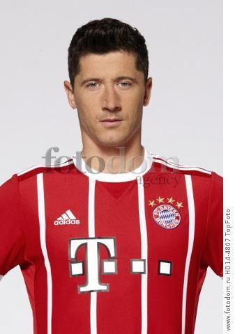 August 2017, Munich, Germany;  German Bundesliga, official photocall FC Bayern Munich for season 2017/18 in Munich, Germany: Robert Lewandowski.