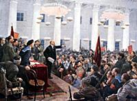 Lenin haranguing deputies of the 2nd Soviet Congre