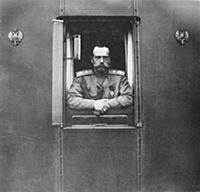 Emperor Nicholas II at window of the own railroad