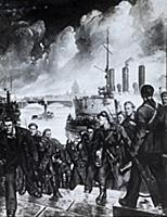 An illustration of sailors from the cruiser Aurora