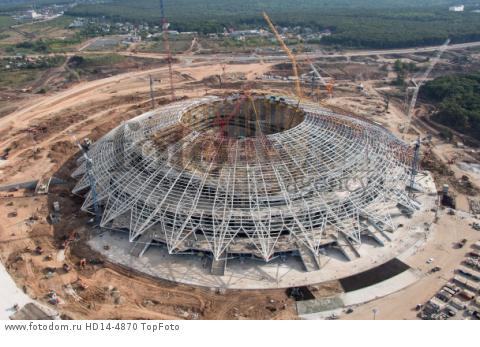 24th October 2017,View of the construction site of the Samara Arena in Samara, Russia, 24 August 2017. The city is one of the playing sites for the FIFA World Cup 2018 in Russia.
