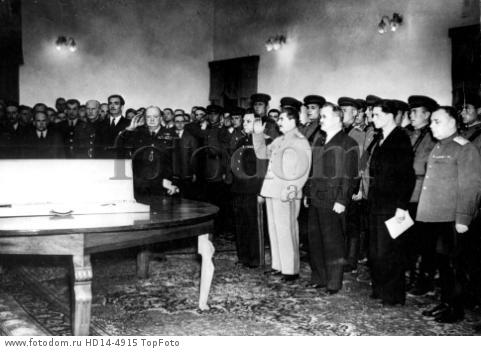 After the presentation of the Stalingrad sword the comany stood during the playing of Internationale - 29th November 1943 - JOSEPH STALIN, (1879-1953), Russian political leader, who was the undisputed leader of the USSR from 1929 until his death. He helped to convert communism in the USSR from an egalitarian, revolutionary movement into an authoritarian, bureaucratic governmental system. He helped to turn Russia into a great industrial nation, to defeat HITLER in WORLD WAR II, and, after the war, to establish Communist regimes throughout eastern Europe. At the same time, however, he institutionalized terror and was responsible for the death and deprivation of millions of people.