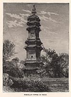 Фарфоровая пагода (башня) в Нанкине. Гравюра из A