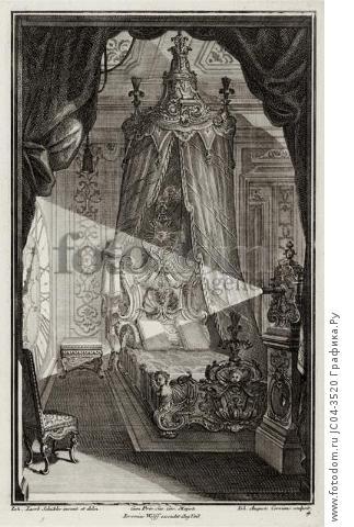 Интерьер pококо. Спальня. Johann Jacob Schueblers Beylag zur Ersten Ausgab seines vorhabenden Wercks. Нюрнберг, 1730