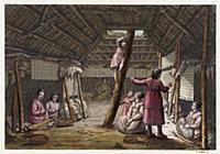 Интерьер жилища индейцев острова Уналашка (из рабо