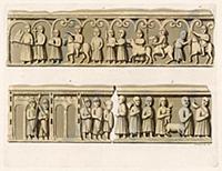 Мраморный барельеф с изображениями солдат. Римская