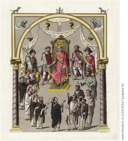 Император Карл II Лысый, сидящий на троне (из знаменитой работы Джулио Феррарио Il costume antico e moderno, o, storia... di tutti i popoli antichi e moderni, изданной в Милане в 1822 году (Европа. Том III))