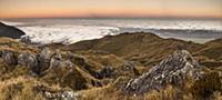 'Mountain ridge in clouds, Westland Tai Poutini Na