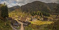 'Traditional gassho-zukuri thatch roofed houses an