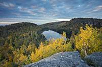 Johnson Lake and distant Lake Superior in autumn,